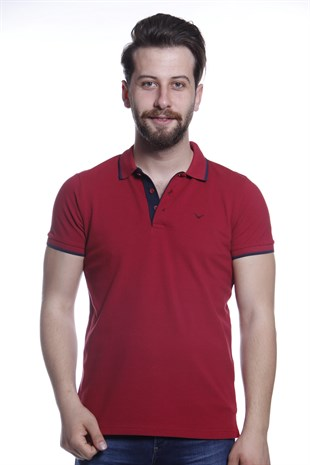 Erkek Battal Polo Yaka Bordo T-Shirt